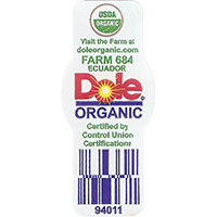 Dole ORGANIC USDA ORGANIC 94011  Visit the Farm at doleorganic.com FARM 684 Certified by Control Union Certifications  21,5 x 48,9 mm paper 2016 PM Ecuador unique