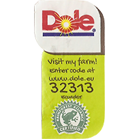 Dole Visit my farm! enter code at www.dole.eu 32313 RAINFOREST ALLIANCE CERTIFIED  0 x 0 mm paper 2017  Ecuador unique