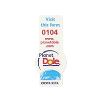Dole Planet  Visit this form 0104 www.planetdole.com  14,3 x 32,3 mm paper before 2012 TL Costa Rica unique