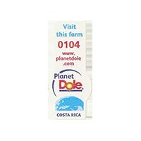 Dole Planet  Visit this form 0104 www.planetdole.com  14,3 x 32,3 mm paper before 2012 TL Costa Rica unique