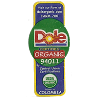 Dole CERTIFIED ORGANIC USDA 94011 FARM 780 doleorganic.com  21,5 x 49,5 mm paper before 2012  Colombia unique