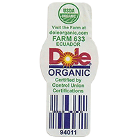 Dole ORGANIC USDA FARM 633 doleorganic.com 94011  21,4 x 48,9 mm paper before 2012 Ecuador unique