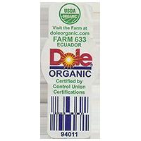 Dole ORGANIC USDA FARM 633 doleorganic.com 94011  21,4 x 48,9 mm paper before 2012 Ecuador unique