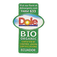 Dole ORGANIC BIO FARM 633 doleorganic.com  21,6 x 34,6 mm paper before 2012 J Ecuador unique