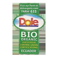 Dole ORGANIC BIO FARM 633 doleorganic.com  21,6 x 34,6 mm paper before 2012 J Ecuador unique