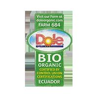 Dole ORGANIC BIO FARM 684  doleorganic.com  21,6 x 34,7 mm paper 2014 J Ecuador unique