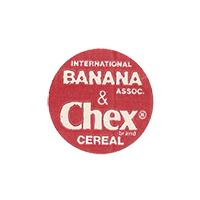 Dole INTERNATIONAL BANANA ASSOC. & Chex brand CEREAL  20,8 x 20,8 mm paper 2012 KČ unique