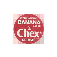 Dole INTERNATIONAL BANANA ASSOC. & Chex brand CEREAL  20,8 x 20,8 mm paper 2012 KČ unique