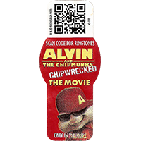 ALVIN AND THE CHIPMUNKS CHIPWRECKED THE MOVIE SCAN CODE FOR RINGTONES ONLY IN THEATERS  21,4 x 48,8 mm paper 2015 KT unique