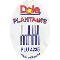 Dole PLANTAINS PLU 4235  29,3 x 42,8 mm paper 2016 PM Ecuador unique
