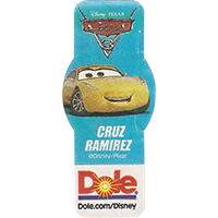 DOLE Cars Dole.com/Disney Disney/Pixar CRUZ RAMIREZ  49,1 x 21,6 mm paper 2017 ML unique