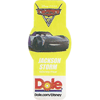 DOLE Cars Dole.com/Disney Disney/Pixar JACKSON STORM  49,1 x 21,6 mm paper 2017 ML unique