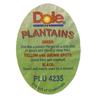 Dole PLANTAINS PLU 4235 GREEN YELLOW with BROWN SPOTS BLACK  30,1 x 42,4 mm paper before 2012 Guatemala unique
