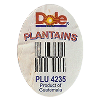 Dole PLANTAINS PLU 4235 Product of Guatemala  30,1 x 42,2 mm paper before 2012 Guatemala unique