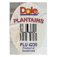 Dole PLANTAINS PLU 4235 Product of Guatemala  30,1 x 42,2 mm paper before 2012 Guatemala unique