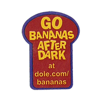 Dole GO BANANAS AFTER DARK at dole.com/bananas  22,2 x 30,2 mm paper before 2012 unique
