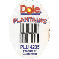 Dole PLANTAINS PLU 4235  0 x 0 mm paper 2017 ML Guatemala unique
