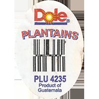 Dole PLANTAINS PLU 4235  0 x 0 mm paper 2017 ML Guatemala unique