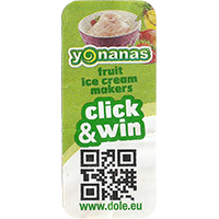 Dole yonanas fruit ice cream makers click & win www.dole.eu  21 x 48,5 mm paper 2015 NB unique