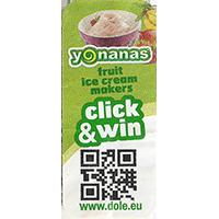 Dole yonanas fruit ice cream makers click & win www.dole.eu  21 x 48,5 mm paper 2015 NB unique