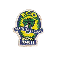 ECO CERTIFIED ORGANIC #94011  21,8 x 25,7 mm paper before 2012 Ecuador unique