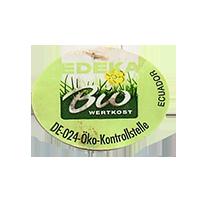 EDEKA Bio WERTKOST DE-024-Oko-Kontrollstelle  27,1 x 20,1 mm paper 2014 NB Ecuador unique