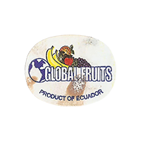GLOBAL FRUITS PRODUCT OF ECUADOR  23,4 x 18,4 mm paper 2014 M Ecuador unique