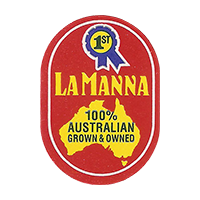LA MANNA 100% AUSTRALIAN GROWN & OWNED  20,5 x 29,2 mm paper 2016 CC Australia unique