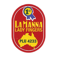 LA MANNA LADY FINGERS PLU 4233  20,1 x 28,5 mm paper 2016 CC Australia unique