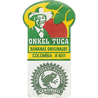 ONKEL TUCA BANANAS ORIGINALES #4011 RAINFOREST ALLIANCE CERTIFIED  21,7 x 39,8 mm paper 2016 PM Colombia unique