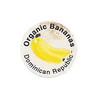 Organic Bananas  22,3 x 22 mm paper before 2012 J Dominican Republic unique