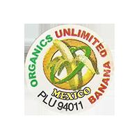 UNLIMITED BANANA ORGANICS PLU 94011  25,2 x 25,5 mm paper 2012 NB Mexico unique