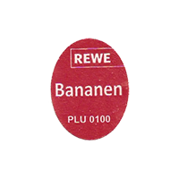 REWE Bananen PLU 0100  17,2 x 22,1 mm paper before 2012 TL  unique