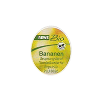REWE Bio Bananen Unsprungsland PLU #8826  15,9 x 19  mm plastic 2012 NB  Dominican Republic unique