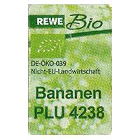 REWE Bio Bananen PLU 4238 DE_ÖKO-039  NICHT-EU- Landwirtschaft  22,1 x 35 mm paper 2015 NB unique