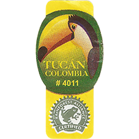 TUCAN # 4011 RAINFOREST ALLIANCE CERTIFIED  22 x 44,6 mm paper 2016 J Colombia unique
