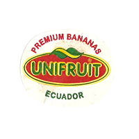 UNIFRUIT PREMIUM BANANAS  26,5 x 22 mm paper before 2012 J Ecuador unique