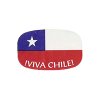 VIVA CHILE!  25,5 x 16 mm paper before 2012 TL Costa Rica unique