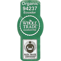 WHOLE TRADE GUARANTEE Organic 94237 FAIR TRADE CERTIFIED  21,5 x 48,7 mm paper 2016 PM Ecuador unique