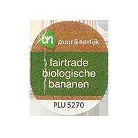 puur&eerlijk fairtrade biologische bananen PLU 5270  21,9 x 26,7 mm paper 2013 M unique